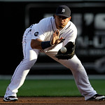 Detroit Tigers first baseman Miguel Cabrera fields a Cleveland Indians Shin-Soo Choo ground ball in the first inning of a  baseball game in Detroit Tuesday, June 1, 2010. (AP Photo/Paul Sanc ...