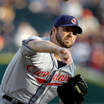 Cleveland Indians pitcher Jake Westbrook throws against the Detroit Tigers in the first inning of a  baseball game in Detroit Tuesday, June 1, 2010. (AP Photo/Paul Sancya)