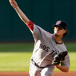 Boston Red Sox's Clay Buchholz pitches in the first inning in a baseball game against the Cleveland Indians, Wednesday, June 9, 2010, in Cleveland. (AP Photo/Tony Dejak)