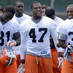 Cleveland Browns fullback Lawrence Vickers (47) walks off the field with his teammates following the morning session of the team's NFL football minicamp in Berea, Ohio on Thursday, June 10,  ...