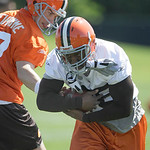 Cleveland Browns running back Jerome Harrison takes a hand off from quarterback Jake Delhomme at the team's NFL football minicamp in Berea, Ohio on Thursday, June 10, 2010. (AP Photo/Amy San ...