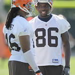 Cleveland Browns wide receiver Johnathan Haggerty (86) walks with wide receiver Josh Cribbs at the team's NFL football minicamp in Berea, Ohio on Thursday, June 10, 2010. (AP Photo/Amy Sance ...