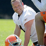 Cleveland Browns kicker Phil Dawson smiles while stretching out at the team's NFL football minicamp in Berea, Ohio on Thursday, June 10, 2010. (AP Photo/Amy Sancetta)