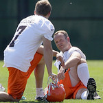Cleveland Browns kicker Phil Dawson, talks with kicker Shaun Suisham (7) while stretching out at the team's NFL football minicamp in Berea, Ohio on Thursday, June 10, 2010. (AP Photo/Amy San ...