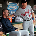 Washington Nationals starting pitcher Stephen Strasburg, left, talks in the dugout with batting coach Rick Eckstein (14) after loading the bases and being pulled from the baseball game in th ...