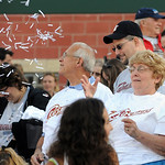 Fans threw confetti before the start of the game at LBJ night June 30.  Steve Manheim