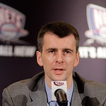 FILE - This May 19, 2010, file photo shows New Jersey Nets owner Mikhail Prokhorov, of Russia, speaking to reporters during a basketball news conference,  in New York.  Two-time MVP LeBron J ...