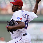 Texas Rangers pitcher Omar Beltre delivers to the Cleveland Indians in the first inning of a baseball game Monday, July 5, 2010, in Arlington, Texas. (AP Photo/Cody Duty)