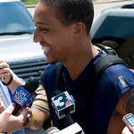 Cleveland Cavaliers player Jamario Moon talks to reporters before playing in a scrimmage with NBA free agent LeBron James and other professional players at the LeBron James Skills Academy fo ...