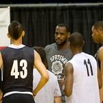 NBA free agent LeBron James talks with high school players at the LeBron James Skills Academy for high school and college basketball players  at Rhodes Arena on the University of Akron campu ...
