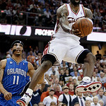 FILE - This May 28, 2009, file photo shows Cleveland Cavaliers' LeBron James getting inside Orlando Magic's Courtney Lee (11) for a shot in the third quarter of Game 5 of the NBA Eastern Con ...