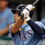 Tampa Bay Rays' Jason Bartlett singles in the game-winning run in the bottom of the tenth inning for a 6-5 victory over the Cleveland Indians in a baseball game Sunday, July 11, 2010, in St. ...