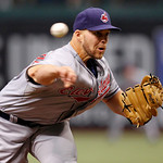 Cleveland Indians starting pitcher Justin Masterson throws in the first inning of a baseball game against the Tampa Bay Rays on Sunday, July 11, 2010, in St. Petersburg, Fla. (AP Photo/Mike  ...