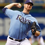 Tampa Bay Rays starting pitcher Jeff Niemann throws in the first inning of a baseball game against the Cleveland Indians on Sunday, July 11, 2010, in St. Petersburg, Fla. (AP Photo/Mike Carl ...
