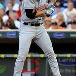 Cleveland Indians' Travis Hafner veers away as he avoids a close pitch by Minnesota Twins' Kevin Slowey during the first inning of a baseball game Tuesday, July 20, 2010 in Minneapolis. (AP  ...