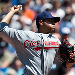 Cleveland Indians starting pitcher Jeanmar Gomez throws against the Toronto Blue Jays during first-inning AL baseball game action in Toronto on Sunday, Aug. 1, 2010. (AP Photo/The Canadian P ...