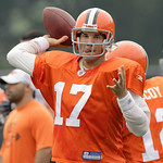 Cleveland Browns quarterback Jake Delhomme throws during the Browns NFL football training camp in Berea, Ohio on Wednesday, Aug. 4, 2010.  (AP Photo/Amy Sancetta)