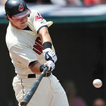 Cleveland Indians' Matt LaPorta hits a two-run home run in the first inning of a baseball game against the Minnesota Twins in Cleveland, Sunday, Aug. 8, 2010. (AP Photo/David Richard)
