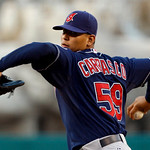 Cleveland Indians starting pitcher Carlos Carrasco delivers a pitch against the Los Angeles Angels in the first inning of a baseball game in Anaheim, Calif., on Monday, Sept. 6, 2010. (AP Ph ...