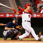 Los Angeles Angels DH Hideki Matsui hits a single in the eighth inning of a baseball game against the Cleveland Indians in Anaheim, Calif., on Monday, Sept. 6, 2010. Cleveland won 3-2. (AP P ...