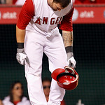 Los Angeles Angels Mike Napoli looks down after striking out to end the eighth inning of a baseball game against the Cleveland Indians in Anaheim, Calif., on Monday, Sept. 6, 2010. Cleveland ...