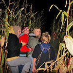 10/17/09 Novotny Farm Market Rt 60 Vermilion, Ohio Holowen Corn Maze. These girls have just been surprised by one of the haunts on the half mile corn Maze walk. At left in yellow hood is Bec …