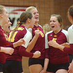 Avon Lake volleyball celebrates win over Amherst in sectional Oct. 27.  Steve Manheim