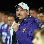 Avon head coach Mike Elder speaks to the crowd at a pep rally the night before the Eagles' first-ever state title game at Avon Stadium Dec. 1. Steve Manheim