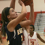 18JAN12  N. Ridgeville girls travel to Elyria High School.  N. Ridgeville Ranger #22 Bella Pecchia was fouled in the act of shooting and went to the line.     photo by Chuck Humel