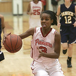18JAN12 N. Ridgeville girls travel to Elyria High School. Lady Pioneer #3 is Simone Christian. photo by Chuck Humel
