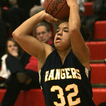 18JAN12  N. Ridgeville girls travel to Elyria High School. Ranger #32 Brionna Rich shooting from 3 point territory.      photo by Chuck Humel