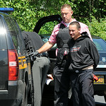 A Lorain County deputy arrests Robert Gauna of Bay Village after an Elyria Township bank robbery. STEVE MANHEIM/CHRONICLE