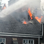 Fire shoots through the roof of First Lutheran Church. BRUCE BISHOP/CHRONICLE
