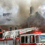 Lorain firefighters battle the fire at First Lutheran Church in Lorain. BRUCE BISHOP/CHRONICLE