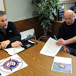 Lorain Police Sgt. Tom Nimon, left,and Chief Deputy Dennis Cavanaugh, announce a  large PCP bust,  at Lorain County Sheriff's Office on Mar. 26.    Steve Manheim