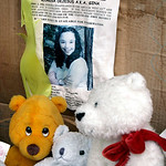 FILE – In this March 3, 2006 file photo, a memorial for Gina DeJesus, who has been missing since April 2, 2004, rests alongside her house in Cleveland. Cleveland police say DeJesus, one of t …