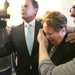 A crying Nancy Smith is led to an elevator by her attorney Jack Bradley and shielded from news cameras as she leaves the court for the last time. Smith took a plea agreement that ends her po …
