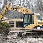 Demolition equipment sits ready to go at 348 Mapleview Ave. in Sheffield Lake after somebody stole a 150 gallon fuel oil tank from a property that was set for demolition today. The crews wer …