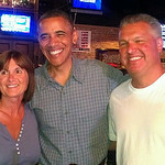 President Obama visits with Michele and Randy Crnobrnja, of Amherst, at Ziggy's in Amherst on July 5. courtesy Randy Crnobrnja