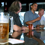 President Barack Obama talks with patrons as he stops for a beer at Ziggy&#039;s Pub and Restaurant in Amherst, Ohio, Thursday, July 5, 2012. Obama is on a two-day bus trip through Ohio and Penns &#8230;