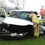 Oberlin Firefighters work to extricate the driver of this pickup truck following an accident on Russia Rd Tuesday.