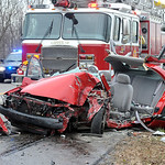 A car was destroyed when it clipped at truck's wheel on Rt. 83 in North Ridgeville Dec. 13.  Steve Manheim