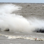 Surf hits breakwall with high waves at Lakeview Park in Lorain on Oct. 30.   Steve Manheim