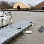 Judge Ray Ewers&#039; boat is underwater at the Lorain Spitzer docks along the Black River.