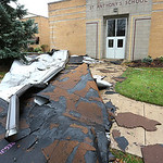 The roof of St Anthonys School blew off during the storm.