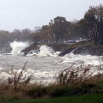 The shoreline looking from Lorain back east toward Avon Lake showing the power of the waves as they slam into the shore.