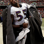 Baltimore Ravens linebacker Terrell Suggs celebrates near the end of the Ravens' 20-10 win over the Cleveland Browns in an NFL football game on Sunday, Dec. 26, 2010, in Cleveland. The win a …