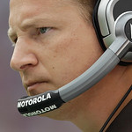 Cleveland Browns coach Eric Mangini looks on from the sidelines during the second half of an NFL football game, Sunday, Sept. 26, 2010, in Baltimore. The Baltimore Ravens won 24-17. (AP Phot …