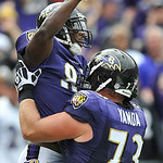 Baltimore Ravens wide receiver Anquan Boldin celebrates his touchdown with guard Marshal Yanda during the first half of an NFL football game against the Cleveland Browns in Baltimore, on Sun &#8230;
