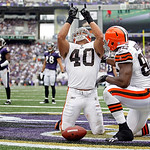 Cleveland Browns running back Peyton Hillis celebrates his touchdown with teammate Benjamin Watson during the first half of an NFL football game against the Baltimore Ravens in Baltimore, on …